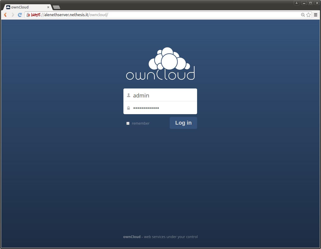 NethServer ownCloud login