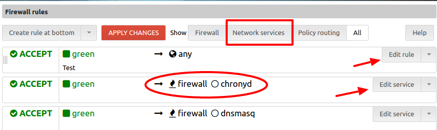 Firewall rules